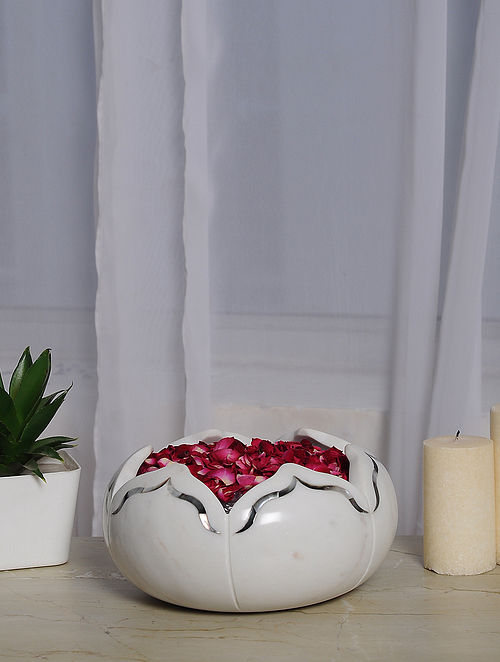 Lotus White Marble Urli with Mother of Pearl Inlay (Dia- 8in, H-4in)