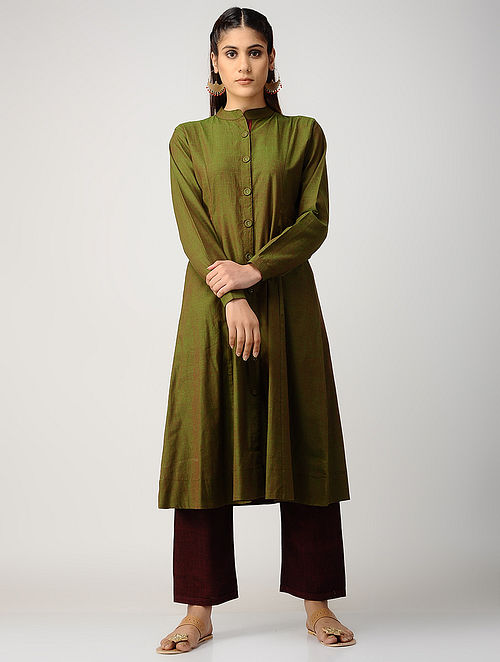 Green-Maroon Cotton Kurta with Silk Trim