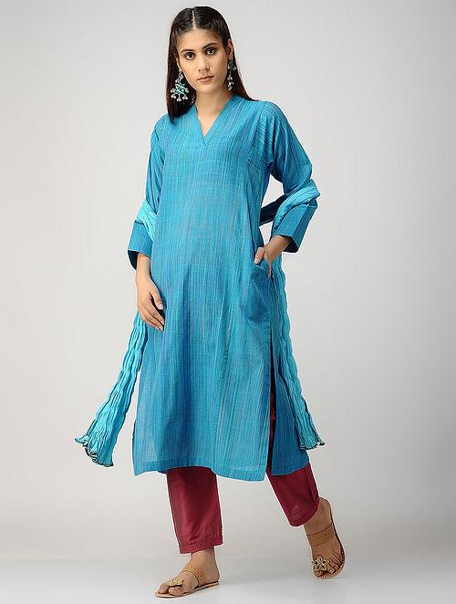 Blue-Green Handloom Cotton Kurta