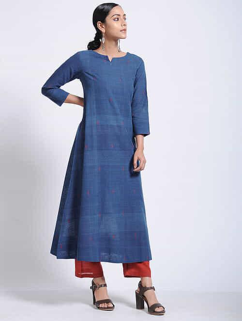 Indigo Natural-dyed Jamdani Cotton Kurta
