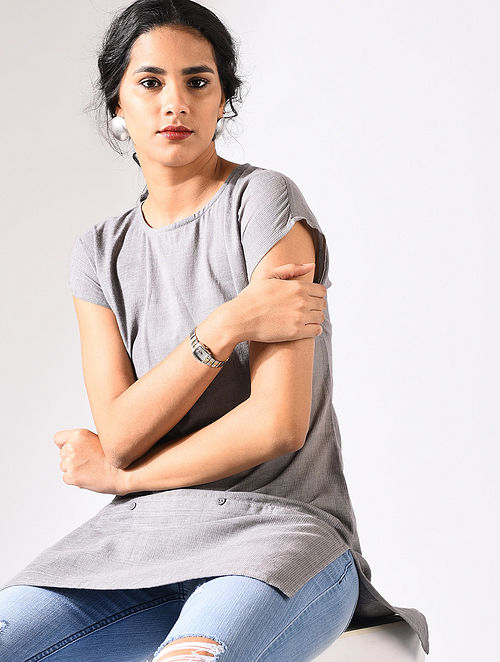 Grey Handloom Cotton Tunic with Pockets