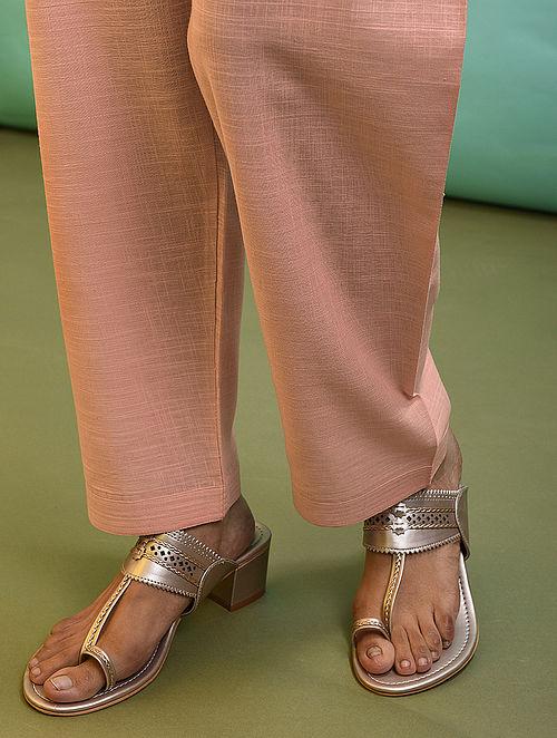 Peach Tie-up Waist Cotton Pants