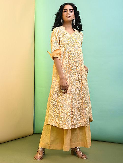 Yellow Printed Cotton Kurta with Pockets