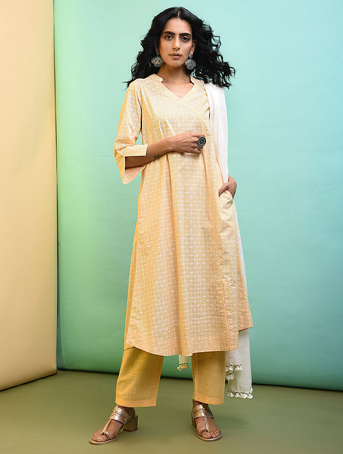 Yellow Printed Cotton Kurta with Pockets