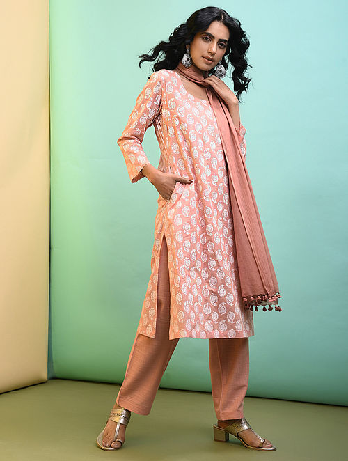 Peach Printed Cotton Kurta with Pockets