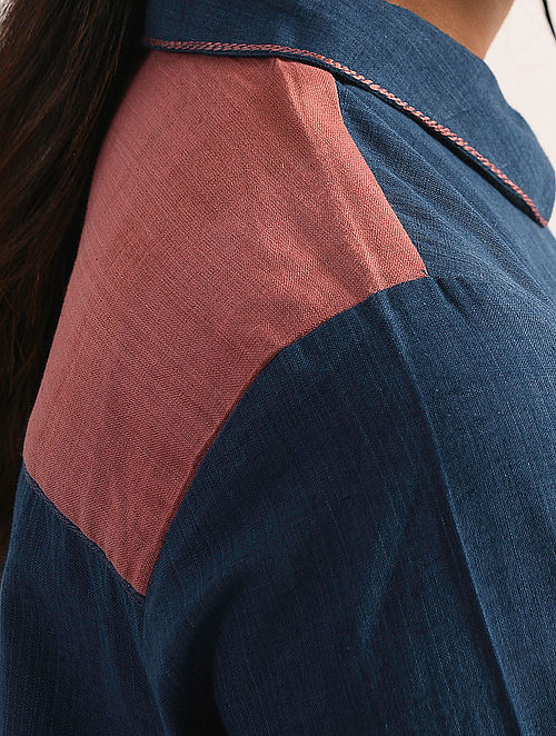 NEEL - Indigo Handloom Cotton Kurta with Embroidery