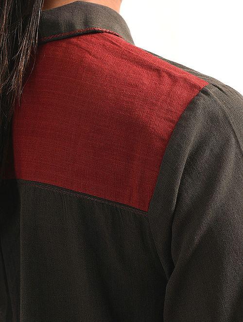 SALETI - Charcoal Handloom Cotton Kurta with Embroidery