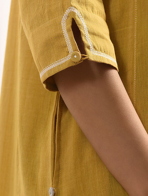 PEET - Yellow Handloom Cotton Kurta with Embroidery