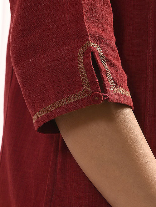 SURKH - Maroon Handloom Cotton Kurta with Embroidery