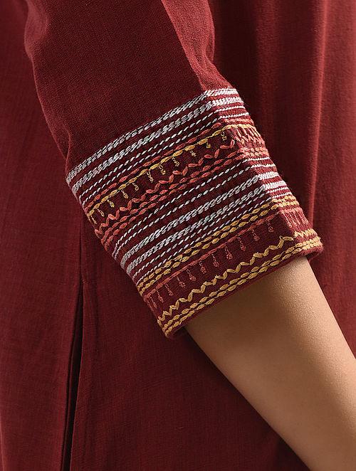 LAAL - Maroon Handloom Cotton Kurta with Embroidery