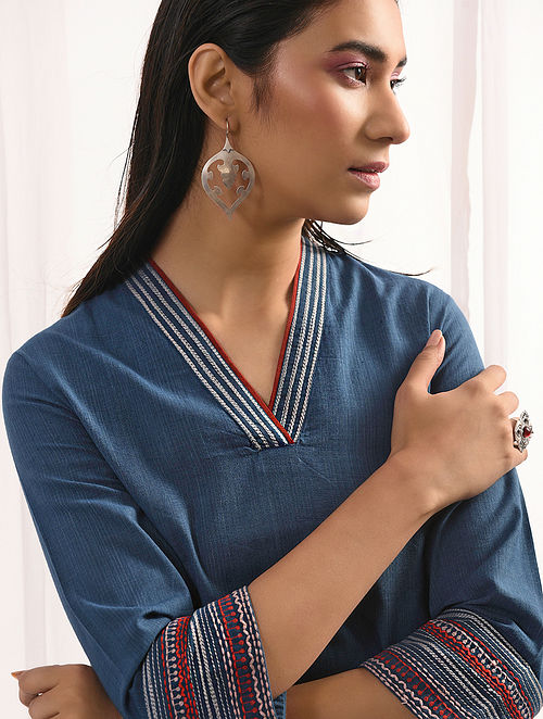 AAKASH NEEL - Indigo Handloom Cotton Kurta with Embroidery