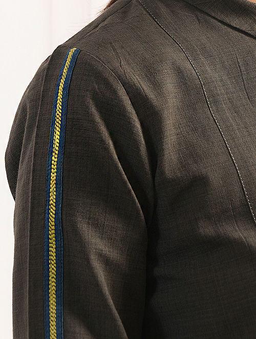 KASHTHANGAR - Charcoal Handloom Cotton Kurta with Embroidery