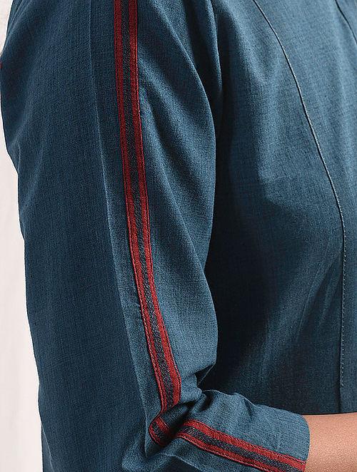 AASMANI - Indigo Handloom Cotton Kurta with Embroidery