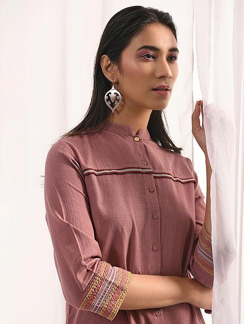 GULABI - Pink Handloom Cotton Button-down Kurta with Embroidery