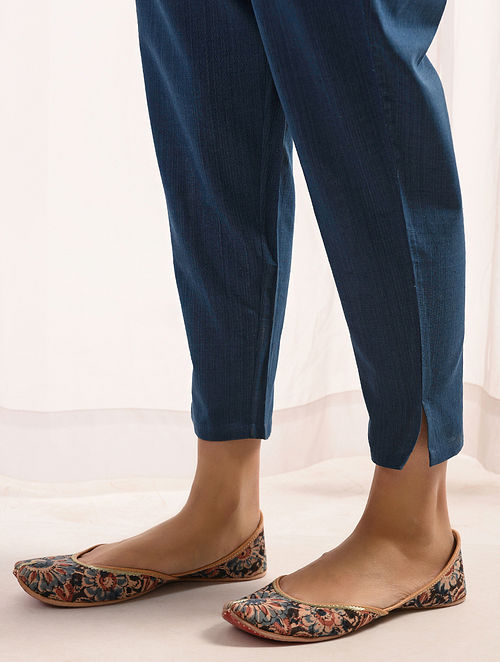 NEELAM - Indigo Elasticated-waist Handloom Cotton Slim Pants