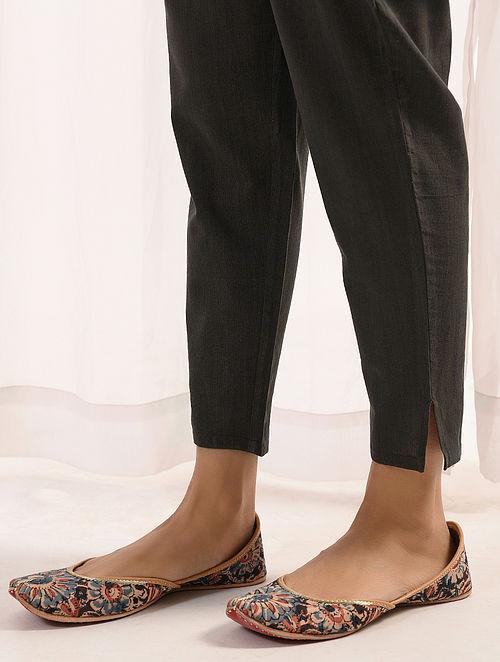 KAATHKOYLA - Charcoal Elasticated-waist Handloom Cotton Slim Pants