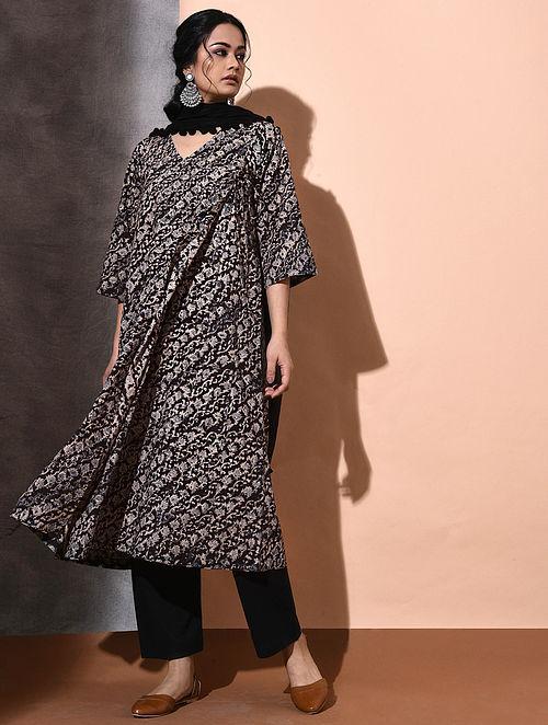 Multicolor Kalamkari-printed Cotton Angrakha