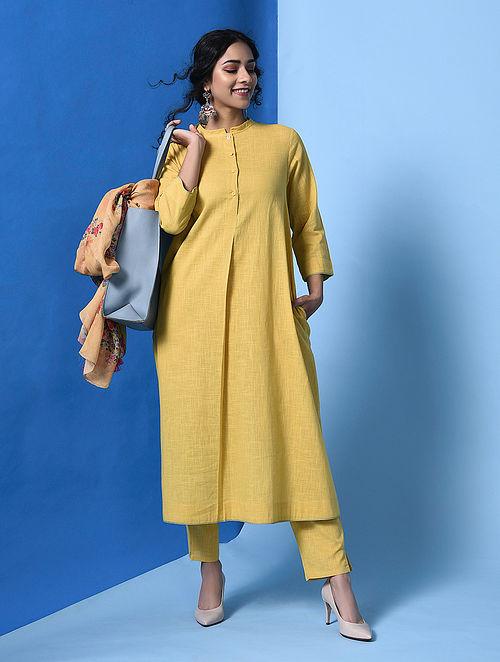 KARUNAH - Yellow Cotton Slub Kurta