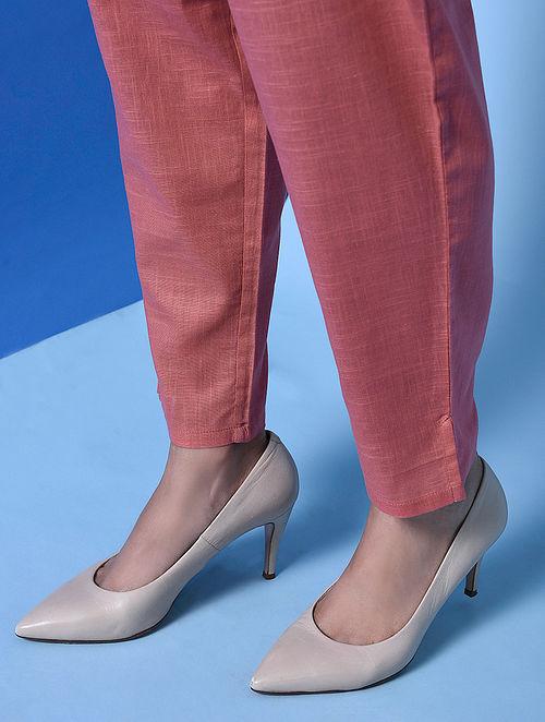 SHACHIKA - Pink Elasticated Waist Cotton Slub Pants