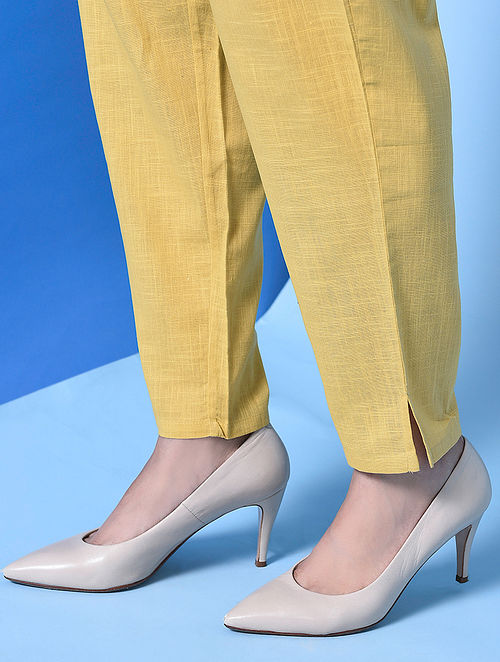 AATIKAH - Yellow Elasticated Waist Cotton Slub Pants