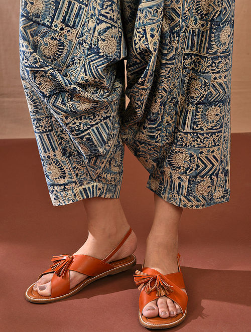 ASHMI - Multicolored Tie-up Waist Block Printed Cotton Harem Pant