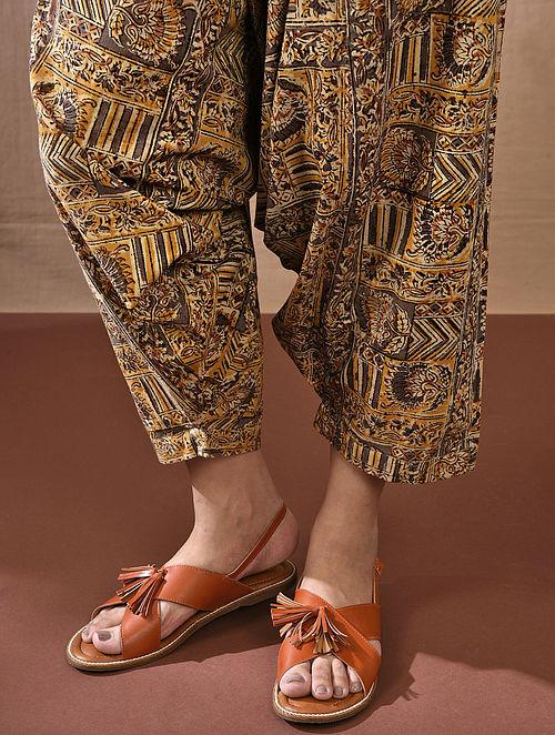 AMOGYA - Multicolored Tie-up Waist Block Printed Cotton Harem Pant