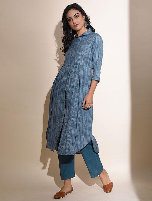 Abeena -Blue Block Printed Cotton Kurta with Lace Detail