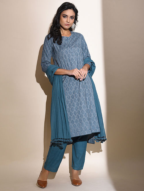 Jameela -Blue Block Printed Cotton Kurta with Lace Detail
