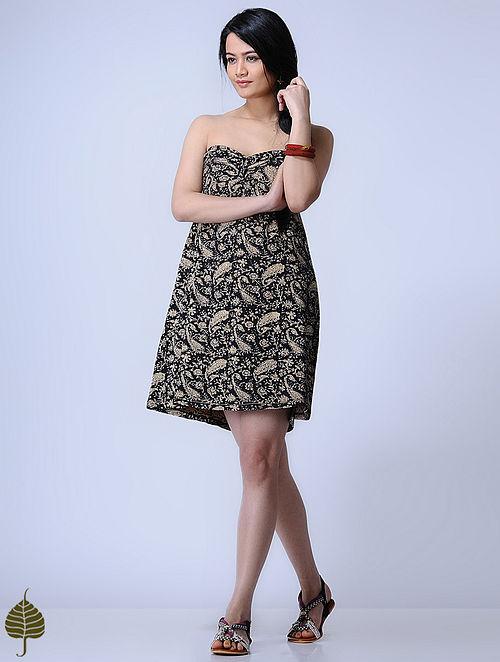 Black Knitted Kalamkari Cotton Modal Dress with Zari Detail by Jaypore