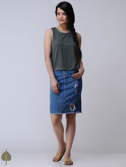 Grey Knitted Cotton Modal Top with Zari Detail by Jaypore
