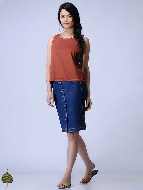 Madder Knitted Cotton Modal Top with Zari Detail by Jaypore