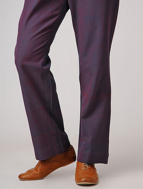 Purple Elasticated-waist Handloom Cotton Pants