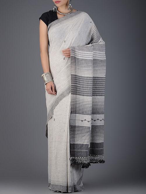 12316edc29066 Grey-White Handwoven Kala Cotton Saree Woven Sarees