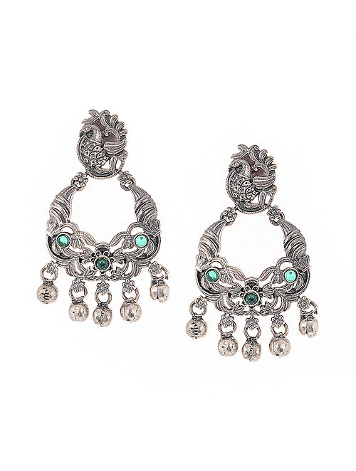 Green Silver Tone Handcrafted Earrings with Ghungroo