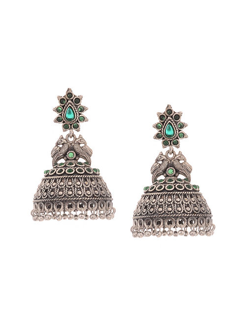 Green Silver Tone Handcrafted Jhumkis