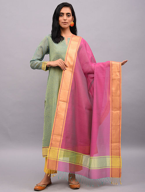 Pink Handloom Maheshwari Dupatta with Zari Border