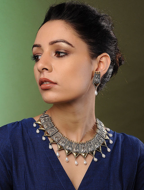 Classic Dual Tone Handcrafted Necklace with Earrings (Set of 2)