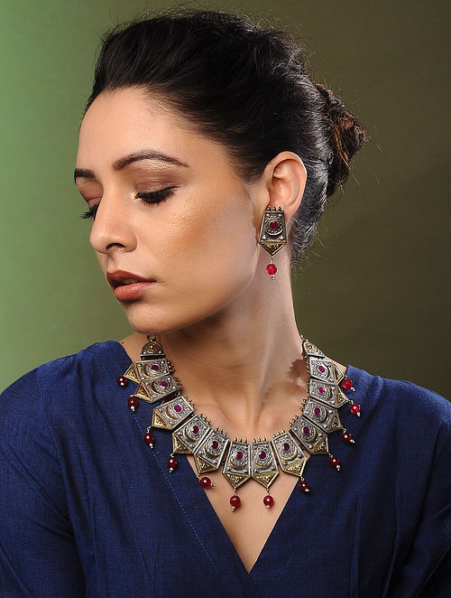 Red Dual Tone Handcrafted Necklace with Earrings (Set of 2)