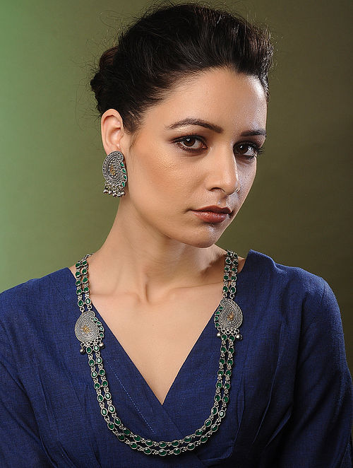 Green Dual Tone Handcrafted Necklace with Earrings (Set of 2)