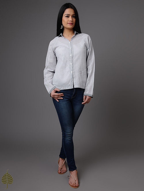 Blue-White Handloom Khadi Shirt by Jaypore