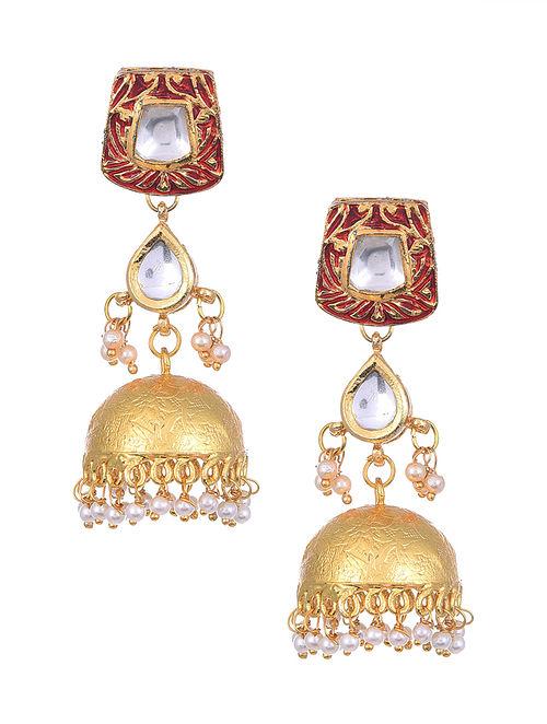 Red Gold Tone Kundan Enameled Jhumki Earrings with Pearls
