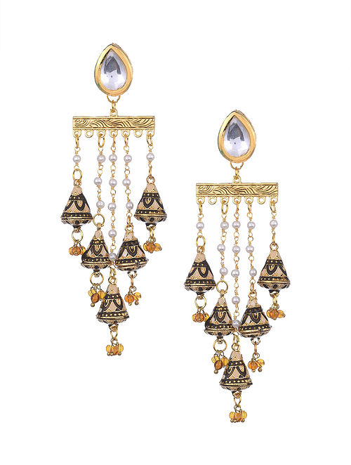 Black Cream Gold Tone Kundan Earrings