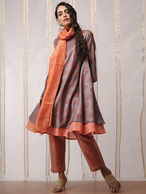 Grey-Orange Block-printed Chanderi Kurta by Jaypore