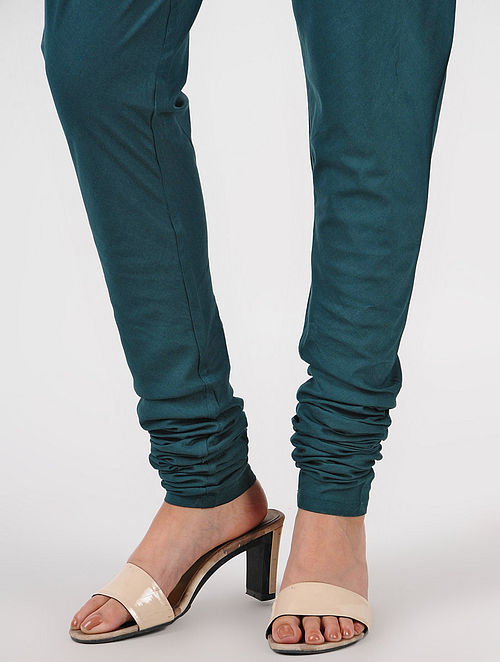 Green Elasticated-waist Cotton Churidar
