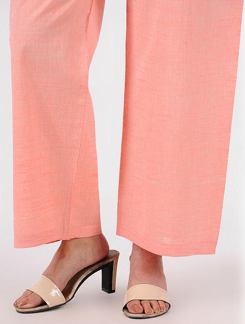Pink Tie-up Waist Cotton Pants