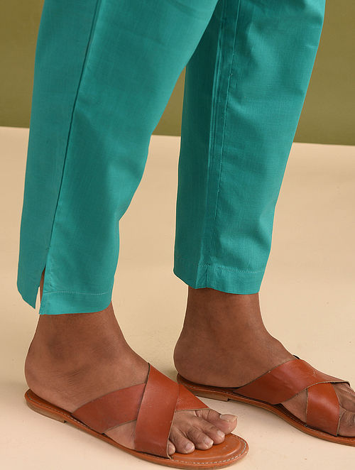 Teal Elasticated Waist Cotton Pants
