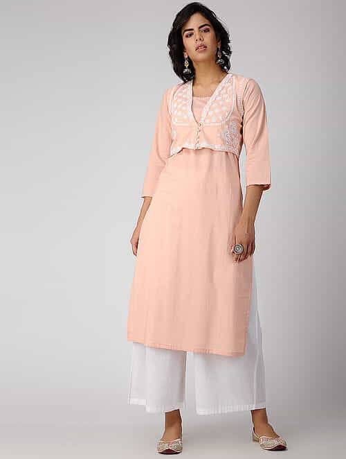 Peach Chikankari Embroidered Cotton Jacket