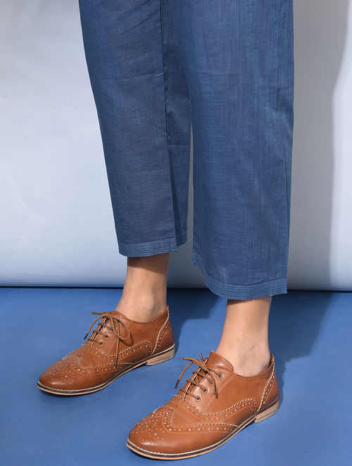 Indigo Tie-up Waist Cotton Pants