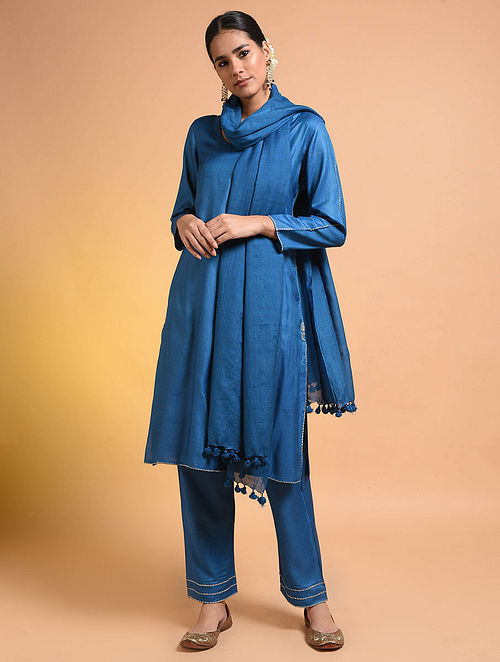 Blue Embroidered Silk Cotton Kurta