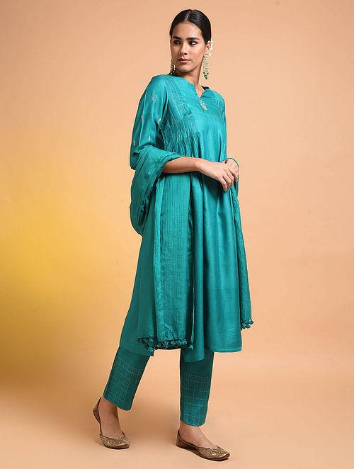 Green Embroidered Silk Cotton Kurta